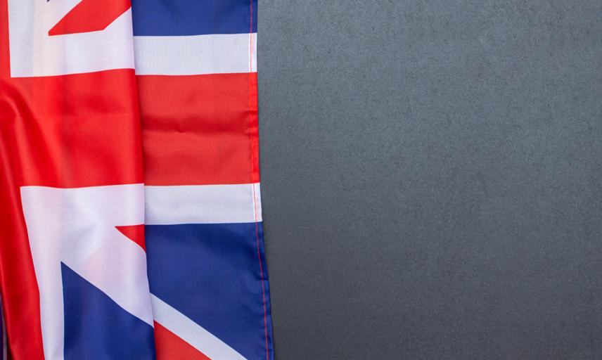 British flag on blackboard